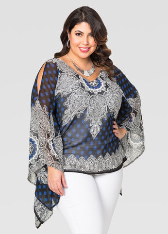 V-Neck Scarf Print Poncho Top