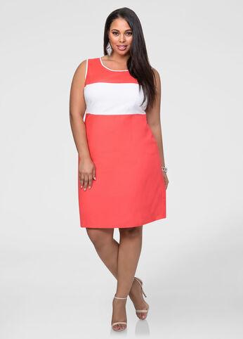Linen Colorblock Sheath Dress