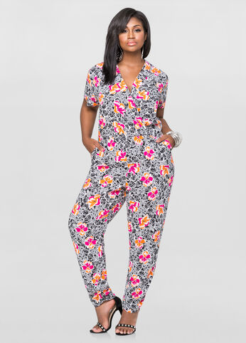 Tropical Surplice Jumpsuit
