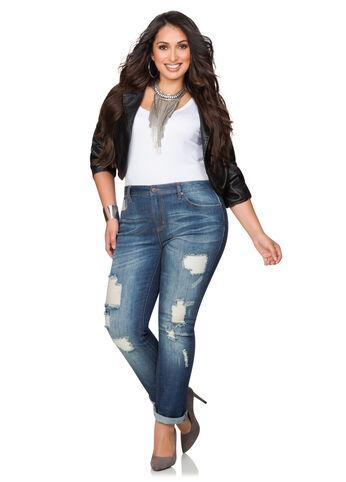 Destructed Cuffed Bootcut Jeans