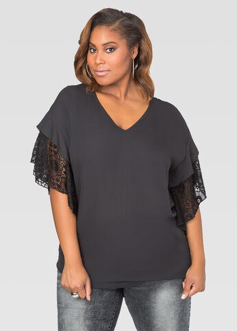 Lace Sleeve V-Neck Tunic