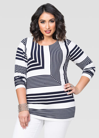Bias Chevron Stripe Top