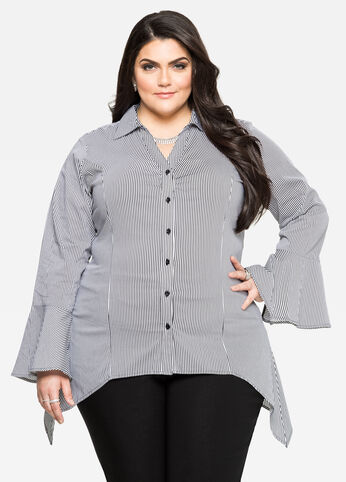 Striped Sharkbite Bell Sleeve Shirt