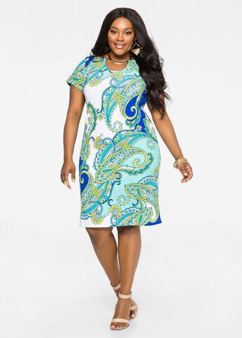 Scoop Notch Paisley Dress