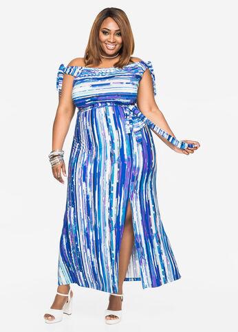 Watercolor Striped Tie Shoulder Maxi Dress