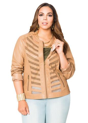 Center Mesh Faux Leather Jacket