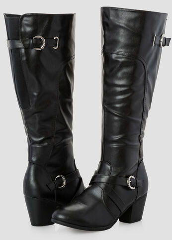Short Chunky Heel Tall Boot - Wide Width Wide Calf