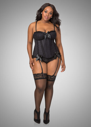 Lace Satin Bow Corset Lingerie Set