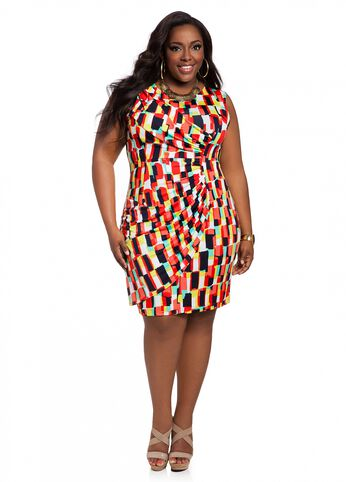 Web Exclusive: Sleeveless Abstract Print Dress