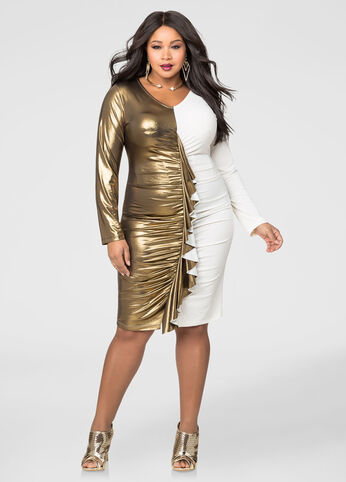 Colorblock Gold Lamé Ruffle Front Dress
