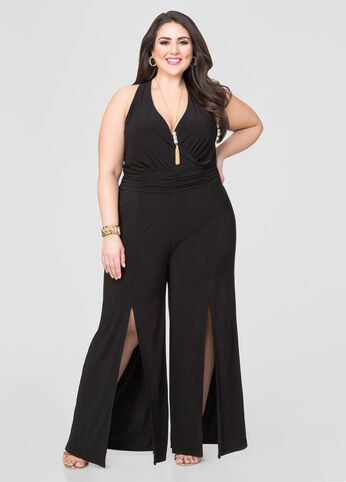 Front Slit Wide Leg Jumpsuit