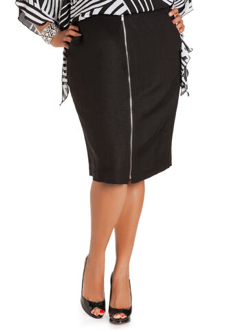 Zip Front Linen Pencil Skirt