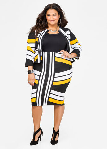 Vertical Stripe Pencil Skirt