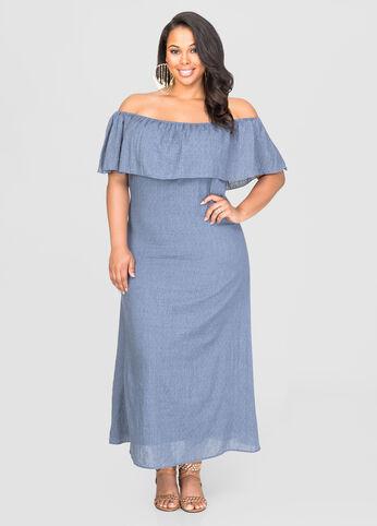 Off-Shoulder Peasant Maxi Dress