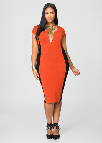 Ribbed Colorblock Bodycon Dress