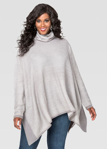 Turtleneck Poncho Pullover Sweater