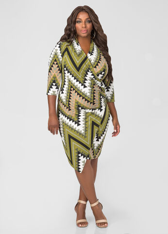 Chevron Faux Wrap Side Zip Dress