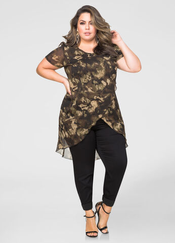 Cross Front Camo Duster Top