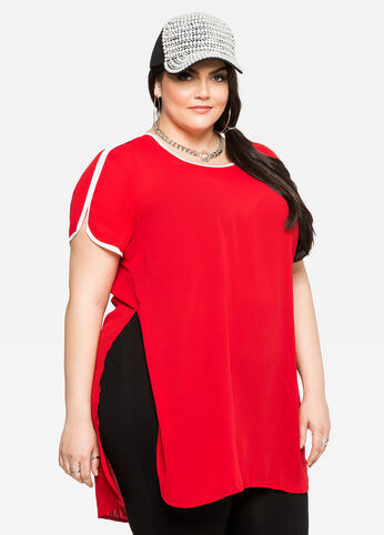 Piped High Slit Tunic Tee Barbados Cherry - Tops