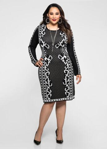 Foulard Pattern Bodycon Sweater Dress