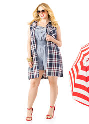 Plaid Slit Tunic layered over Chambray Smocked Romper