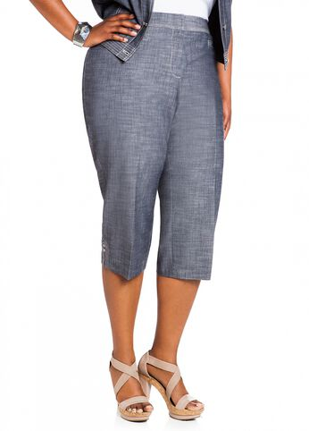Crosshatch Stitched Capri Pant