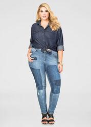 Destructed Patchwork Skinny Jean