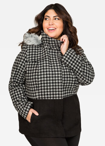 Checkered Hooded Winter Coat