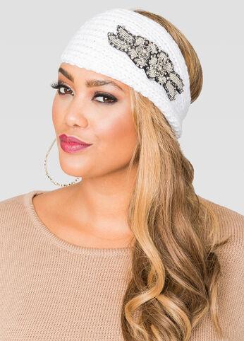Beaded Floral Knit Headband
