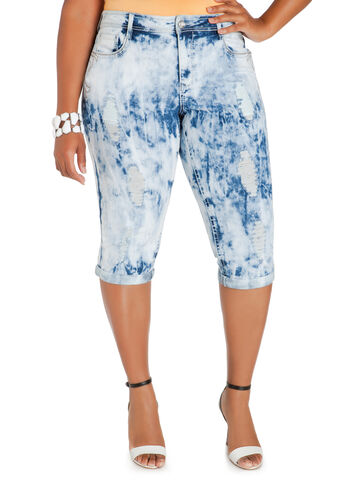 Cloud Wash Denim Capri Pants