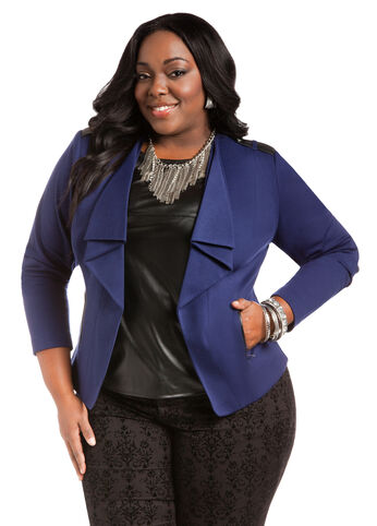Faux Leather Epaulet Blazer