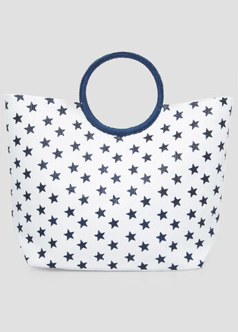 Large Star Straw Tote in Blue