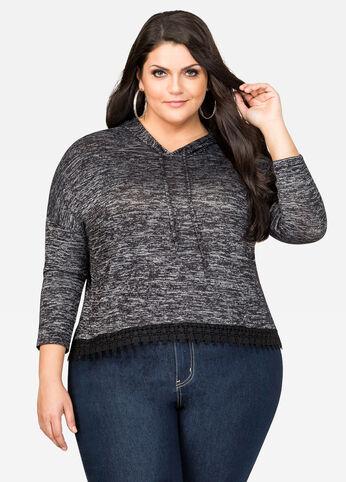 Lace Hem Lightweight Hoodie Sweater