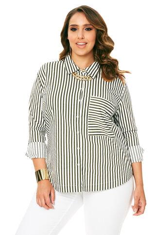 Striped Oversized Pocket Shirt