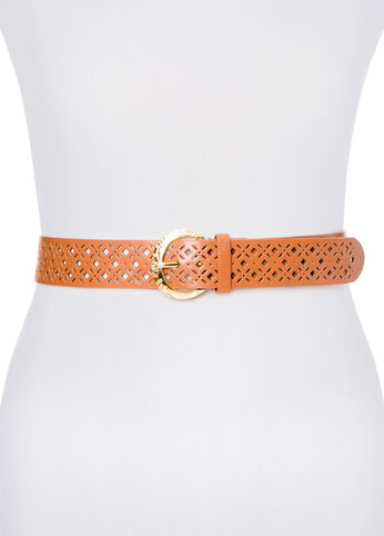 Perforated Engraved Buckle Belt