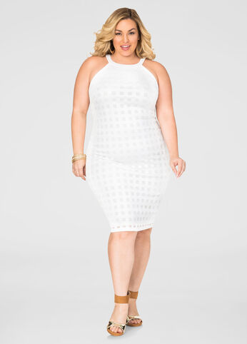 Windowpane Halter Sheath Dress