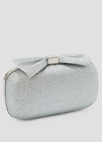 Large Top Bow Silver Glitter Clutch