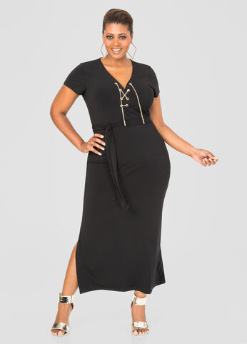 Chain Lace-Up Maxi Dress