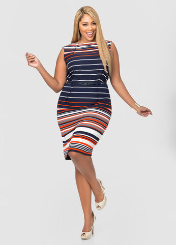 Belted Striped Sheath Dress