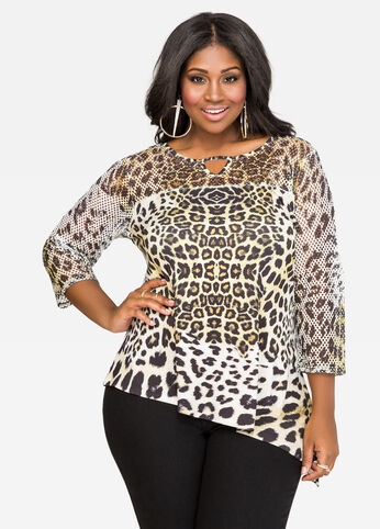 Mesh Asymmetrical Leopard Top