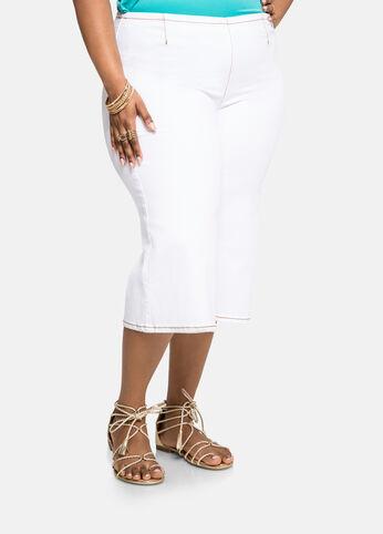 White Wide Leg Gaucho Jeans