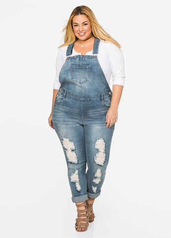 Skinny Destructed Overall Jeans