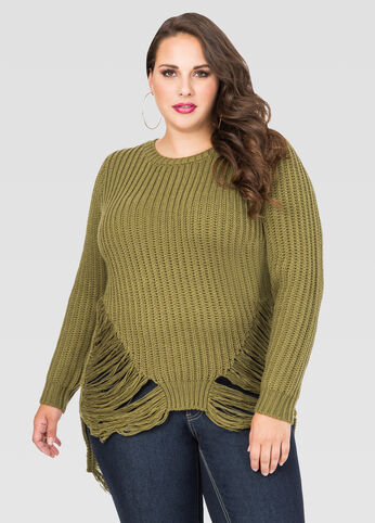Destructed Cable Knit Sweater
