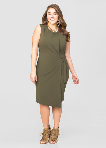 D-Ring Tie Faux Wrap Dress