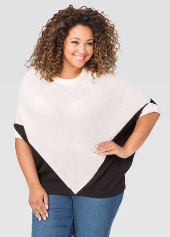 Colorblock Poncho Sweater