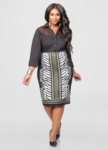 ANIMAL PRT 27 PENCIL SKIRT  - Color: Olive Night, Size: 12