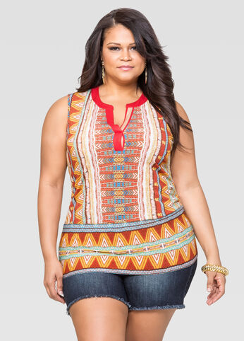 Mandarin Collar Tribal Tank