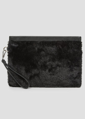 Oversized Fur Wristlet Clutch