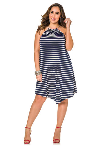 Striped Cord Halter Dress