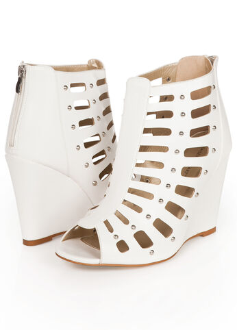 Faux Leather Gladiator Wedge Booties